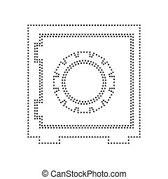 Safe sign illustration. Vector. Black dotted icon on white background. Isolated.