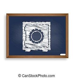 Safe sign illustration. White chalk icon on blue school board wi