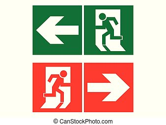 Safe sign. The exit icon. Emergency exit. Green icon and red icon on a white background. Vector illustration.