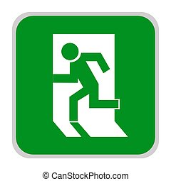 Safe sign. The exit icon. Emergency exit. Green icon on a white background. Vector illustration.