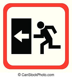 Safe sign. The exit icon. Emergency exit. red icon on a white background. Vector illustration.