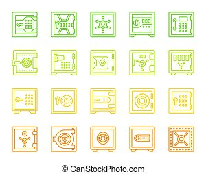 Safe simple color line icons vector set - Safe thin line...