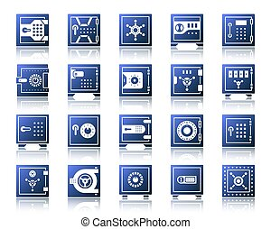 Safe simple gradient icons bank cell vector set - Safe...