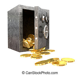 Safe Spilling Coins Perspective - A regular metal safe with...