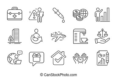 Safe time, Justice scales and Airplane icons set. Wish list, Buildings and World money signs. Vector