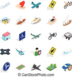 Safe transport icons set, isometric style - Safe transport...