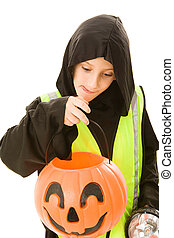 Safe Trick Or Treating - Adorable little boy in his...
