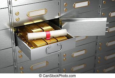 Safe with an open cell, full of gold bars on which lies the document in the form of a scroll. 3D Illustration