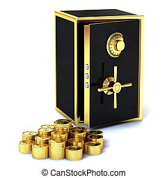 Safe with gold coins