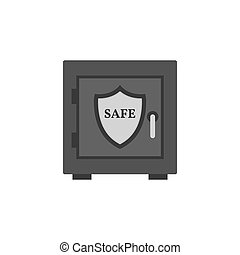 Safe with shield icon. Security, protection concept. Symbol in trendy flat style isolated on white background.