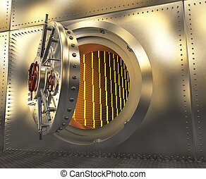 Safe with the door open. Gold in the vault. 3D illustration
