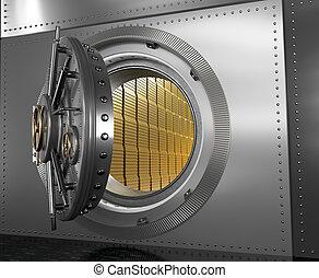 Safe with the door open. Gold in the vault