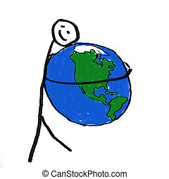 Safe World - A stick person holding the globe