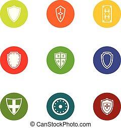 Safeguard icons set, flat style - Safeguard icons set. Flat...