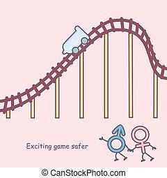 safer, emocionante, juego, caricatura
