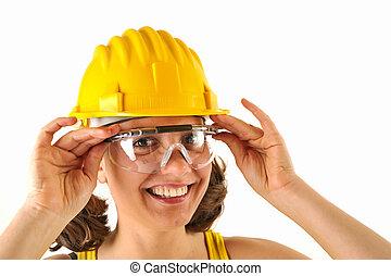 safetty, 帽子, 眼鏡