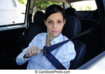 safety:, водитель, сиденье, женский пол, крепление, ремень