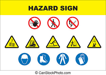 Safety and danger icon set vector