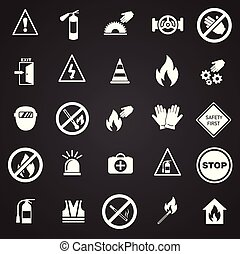 Safety and prohibition signs set on black background