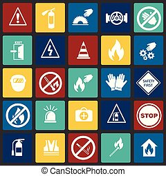 Safety and prohibition signs set on color squares background