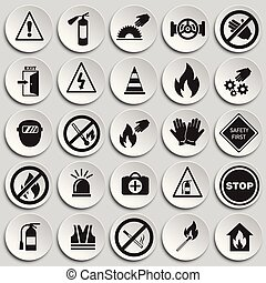 Safety and prohibition signs set on plates background
