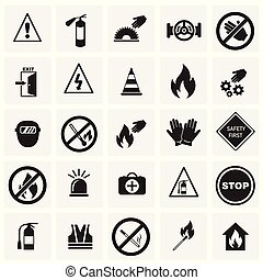 Safety and prohibition signs set on squares background