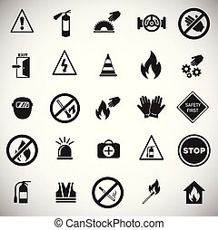 Safety and prohibition signs set on white background