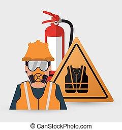 Safety at work icon design