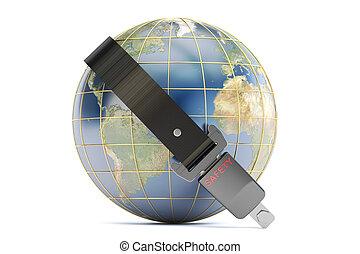 safety belt on earth, secure concept. 3D rendering