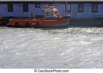Safety boat in the sparkling water
