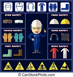 Safety Boy With Basic Safety Equipments and Signs