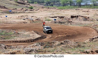 Safety car on rally cross track in russian province