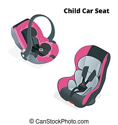 Safety Car seat for baby and kid, isolated on white background. Flat 3d vector isometric illustration. Car seat 3 in 1 and group 0