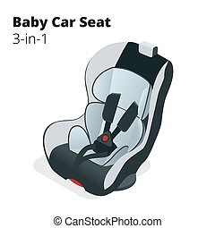 Safety Car seat for baby and kid, isolated on white background. Flat 3d vector isometric illustration. Car seat 3 in 1.