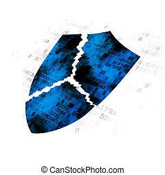 Safety concept: Broken Shield on Digital background