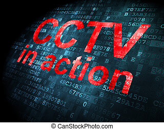 Safety concept: CCTV In action on digital background