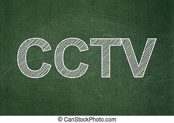 Safety concept: CCTV on chalkboard background