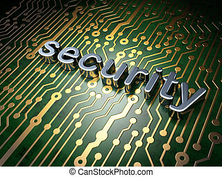Safety concept: circuit board with word Security