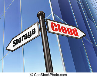 Safety concept: Cloud Storage on Building background, 3d...