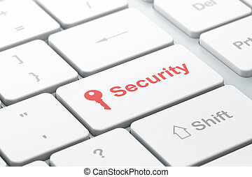 Safety concept: computer keyboard with Key icon and word Security, selected focus on enter button, 3d render