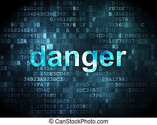 Safety concept: pixelated words Danger on digital background, 3d render