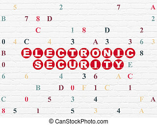 Safety concept: Electronic Security on wall background