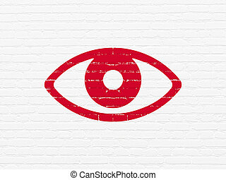 Safety concept: Eye on wall background