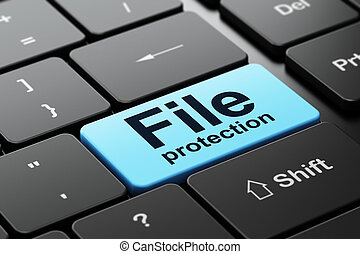 Safety concept: File Protection on computer keyboard background