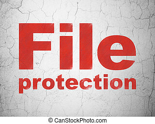 Safety concept: File Protection on wall background