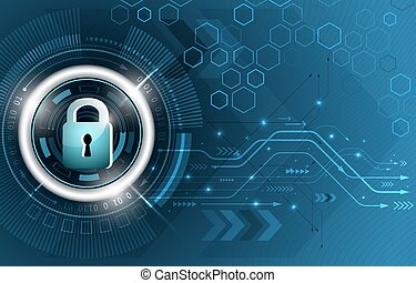 Safety concept. Global security technological vector background. Closed padlock, glitter, circuit board and hexagon shapes.