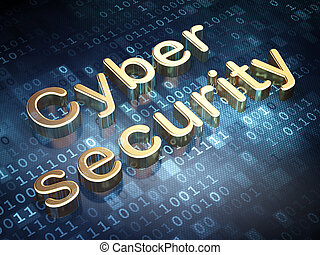Safety concept: Golden Cyber Security on digital background