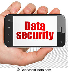 Safety concept: Hand Holding Smartphone with Data Security on display