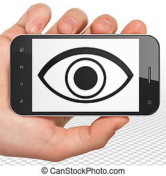 Safety concept: Hand Holding Smartphone with Eye on display