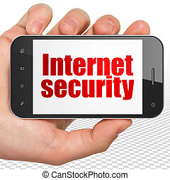 Safety concept: Hand Holding Smartphone with Internet Security on display